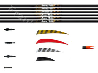 "12er Pfeilbauset Carbonpfeile Easton Powerflight Traditional mit 3"" Naturfedern"