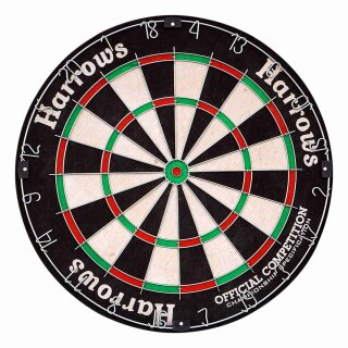 Set Dartboard Harrows Official Competition Bristle Dartboard OCBB und Steeldarts Winmau Broadside 22 g