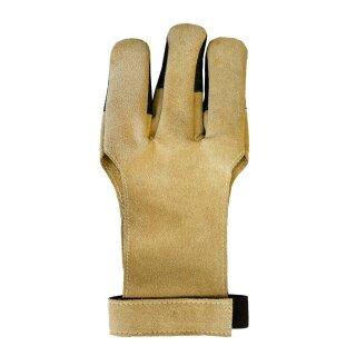 Schießhandschuh weiches Kunstleder mit Lederbesatz beige