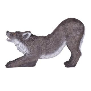 3D Tier Franzbogen kniender schwarzer Wolf