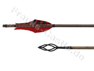 Mittelalterlicher Holzpfeil northern Pine rot barred-rot mit Feuerkorb 60 - 65 Typ 5