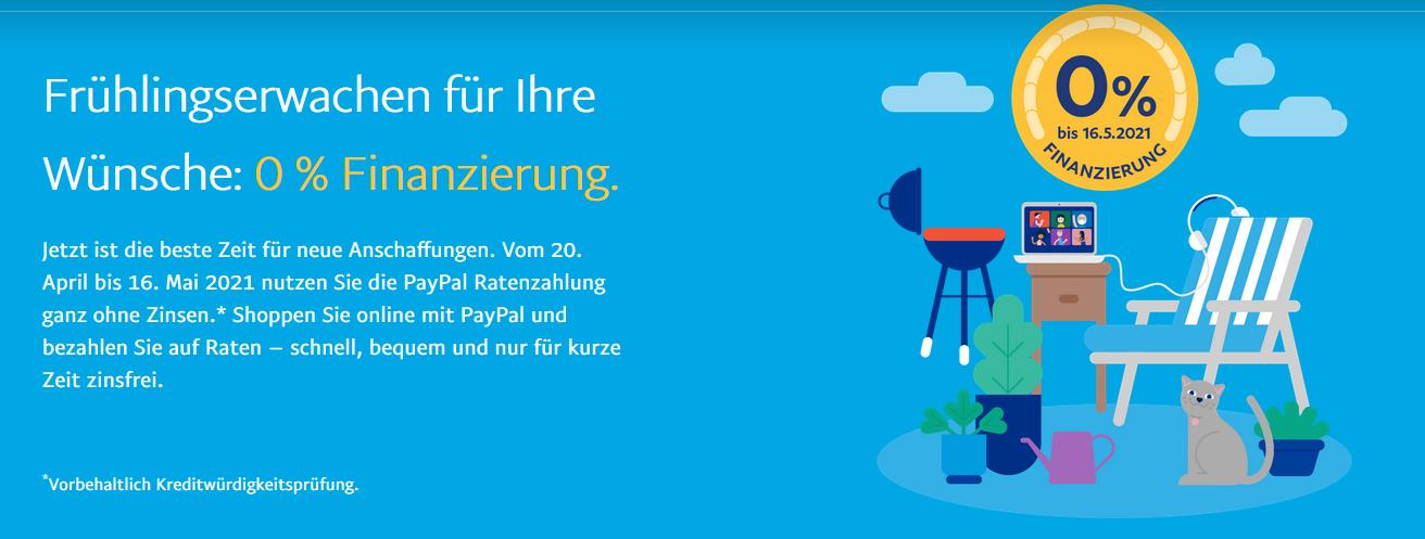 PayPal Ratenzahlung Aktion 0% bis zum 16.05.2021